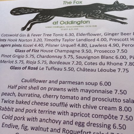 Lower Oddington, UK: Menu