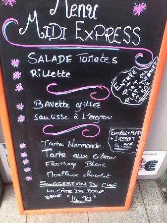 Periers, Francja: Menu, plat de jour