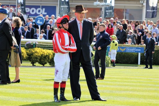 Newmarket, UK: John Gosden and Frankie Dettori in the parade ring.