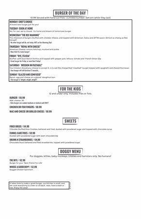 Away From The World Burger and Beer Bar : Menu page 4