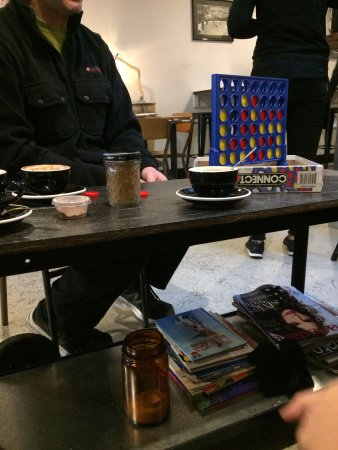 Carterton, New Zealand: coffee, hot chocolates & connect 4 while at the couch
