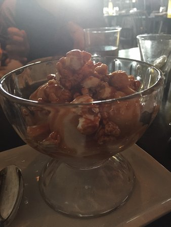 Two Urban Licks : Vanilla Malted Ice Cream, with popcorn, peanuts and Caramal