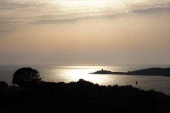 Motel Ta Kladia: vue de la baie en arrivant de Cargèse le soir