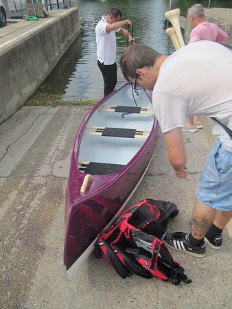 AV Boats: Victor helping us get the new canoe in the water