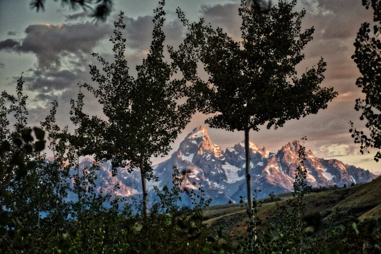 Kelly, WY: Sunrise from the porch of the Sundance lodge suite