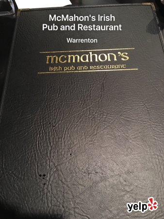 Warrenton, VA: Menu, menu cover, bar area and my Guinness Steak and mushroom stew