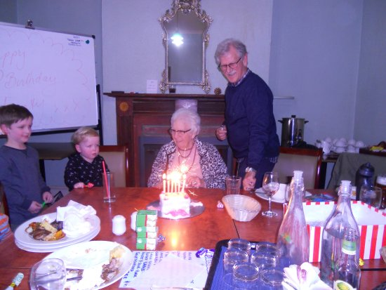photos of the birthday girl at 95 years at the Ross hotet in a private room