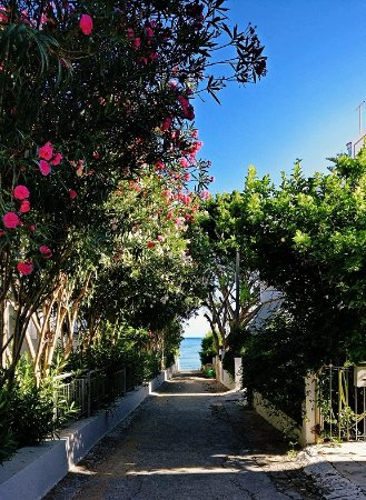 Yakinthos Hotel: Alley to the sandy beach