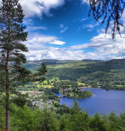 The view from Drummond Hill looking down to Kenmore and Loch Tay.
