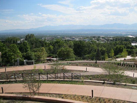 Red Butte Garden Water Conservation Garden and view of Salt Lake Valley