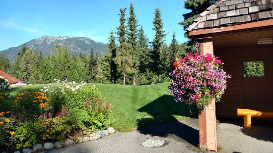 Fairmont Chateau Whistler Golf Club: Flowers and mountain view from the starter's hut