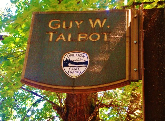 Guy Talbot State Park: Sign at north end of the lower Park next to tiny town of Latourell