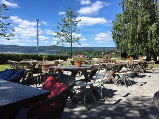 Gran Municipality, Norway: Patio just before noon.