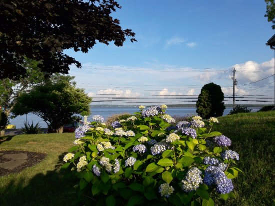 Heritage Home Bed and Breakfast: Beautiful gardens at Heritage Home B&B overlooking the ocean