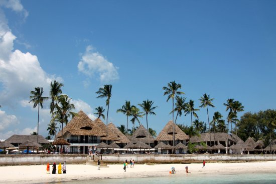 The DoubleTree resort seen from the Nungwi beach/sea