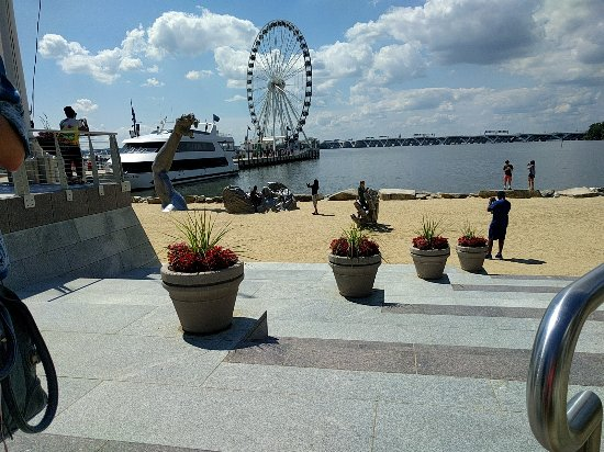 National Harbor, MD: View of Awakening Sculpture - Sand Surface.