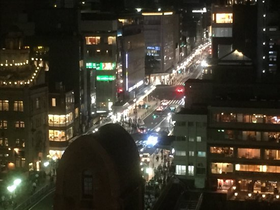 in the Moon.: View from rooftop bar at night along Shijo-dori