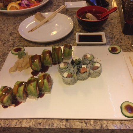 Johnny's Sushi House: Mongolian beef, double delight with garlic sauce, and Philadelphia roll with Baltimore Beauty ro