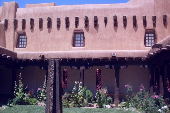New Mexico Museum of Art: courtyard with stone fountain in center