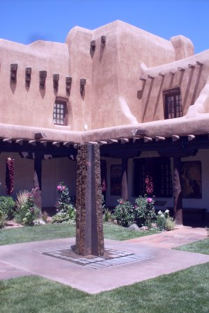 New Mexico Museum of Art: stone fountain in courtyard
