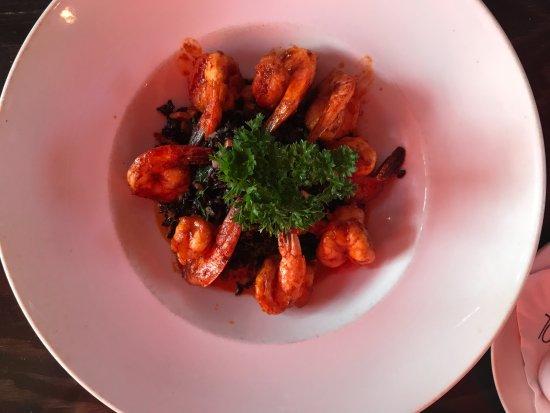 Maya Del Sol: Shrimp with black rice, sweet potato, kale and chipotle cream sauce