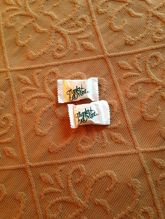 Super 8 Barrie : A cute touch...two mints on the bed