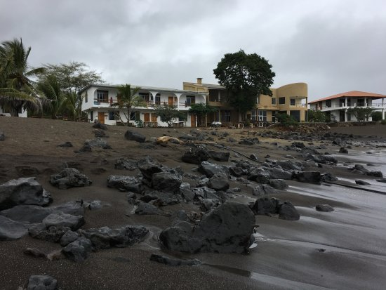 Floreana, Ekuador: Black sand beach is right in front of the Hotel Wittmer. Great snorkeling !!