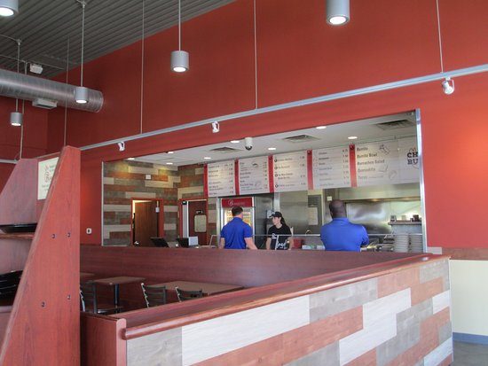 Sun Prairie, WI: Indoors, menu is posted behind food line, easy to read. New paint-new signs!