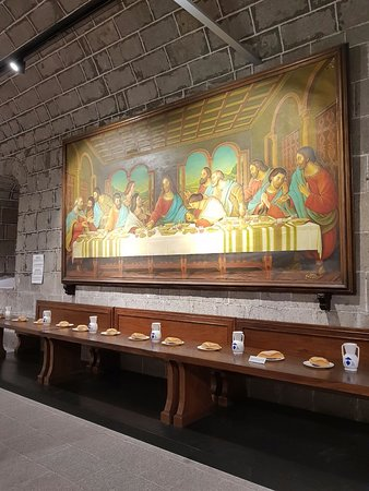 San Agustin Church: The Last Supper On The Wall And The Table Part 71