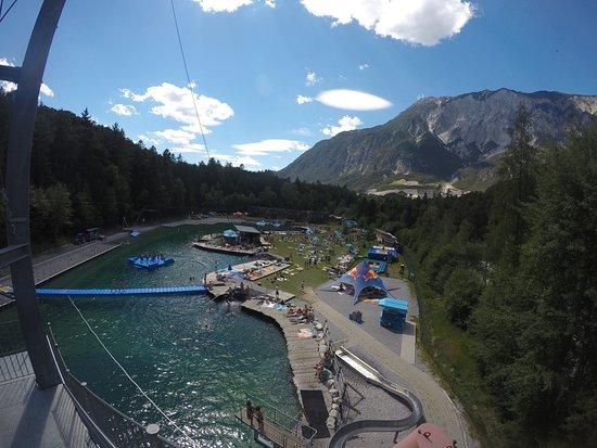 Otztal-Bahnhof, Østerrike: Überblick vom Rutschenturm aus