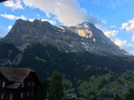 Romantik Hotel Schweizerhof Grindelwald : Mount Eiger from the balcony.