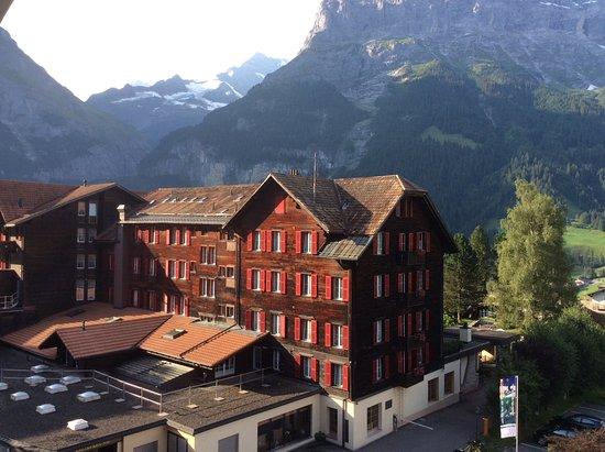 Romantik Hotel Schweizerhof Grindelwald : Back of hotel from our balcony.