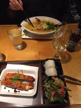Oberlin, OH: Japanese Soy Salmon & Thai Shrimp Curry