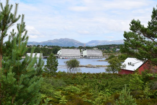 Floro, Norway: A view of the museum from a distance. The platform model is the round building on the left.