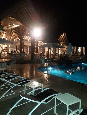Riviere Noire District: poolside restaurant at night...Amazing view