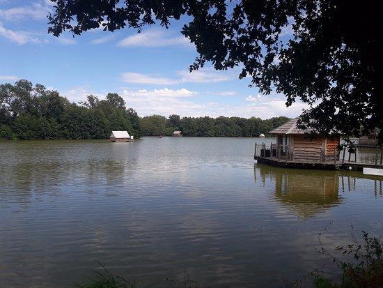 Ain, Prancis: L'étang avec les lodges accessible en barque