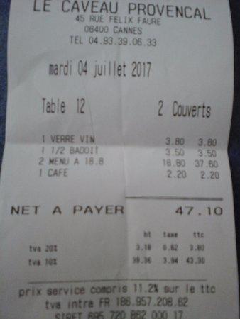Le Caveau 30: facture