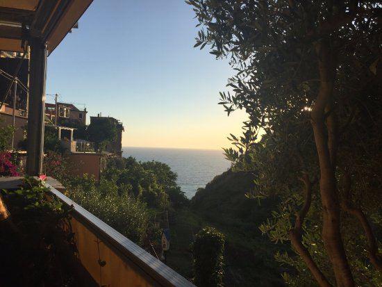Food and Sea: View of Mediterranean from the terrace tables