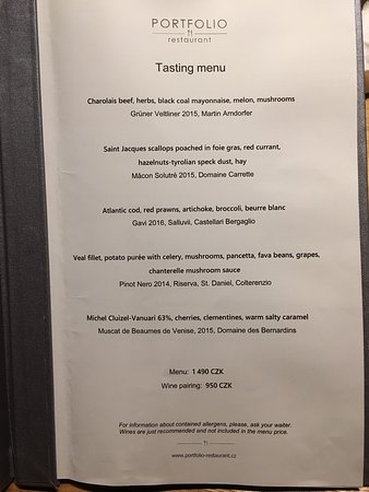 Tasting menu at Portfolio
