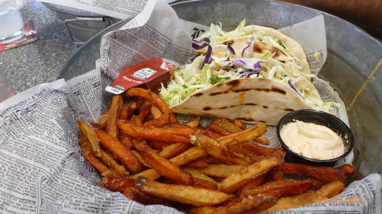Clear Lake, IA: Walleye Fish Tacos with a side of Parsnips and Carrots