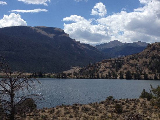 Ring Lake Ranch: Looking out over Trail Lake toward Arrow Mountain