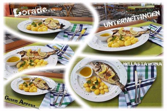 Untermeitingen, Allemagne : DORADE vom Grill mit Zitronen-Olivenöl-Sauce..