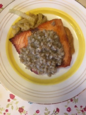 Ensku Husin Guesthouse: Salmon with Barley, Fennel and Sweet Potato Puree