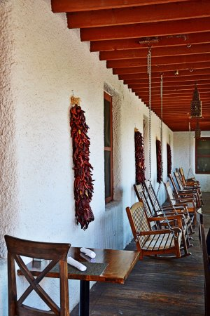 Ojo Caliente, NM: porch by the restaurant