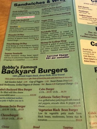 menu - Picture of Cabo\'s Island Grill and Bar, Tallahassee - TripAdvisor