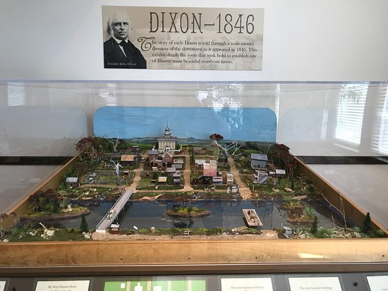 "Diorama of Dixon, IL as it looked in 1846 (""Dixon's ferry"") w bridge, too"