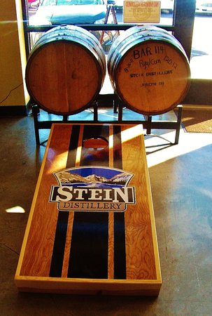 Stein Distillery Tasting Room: Those wood casks by the front windows