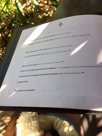 Yandina, Australien: banquet menu