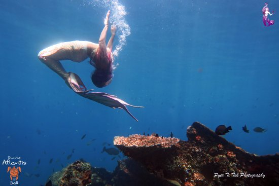 Atlantis International Bali: Mermaid Syrena's acrobatic movement at USAT Liberty Wreck, Bali