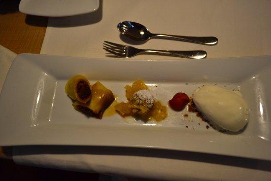Diessen, Germany:  Pol Pancake: Gerollter Kokos-Pfannkuchen mit Sauerrahmsorbet